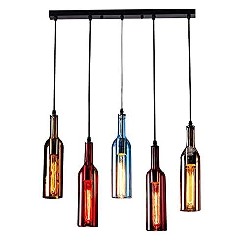 DKOUPTO Lámpara de lápiz de Techo del Siglo Mediano, Colgante de Vidrio de Color araña de Techo Industrial, iluminación Creativa Botella de Vino Retro lámpara Colgante, para Sala de Estar Dormitorio