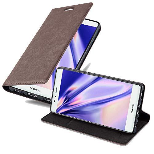 Cadorabo Hülle für Huawei P9 - Hülle in Kaffee BRAUN – Handyhülle mit Magnetverschluss, Standfunktion und Kartenfach - Case Cover Schutzhülle Etui Tasche Book Klapp Style