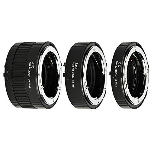 JJC Metall Autofokus-Zwischenringe (AF) mit TTL-Belichtung für Makrofotographie 12mm, 20mm und 36mm (Passen für Nikon F Mount Kameras)