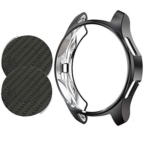 Miimall Schutzhülle Kompatibel mit Samsung Gear S3 Frontier/Classic Hülle + Rückseite Folie Carbon Muster, Soft TPU Kratzfest Bumper Hülle Cover für Samsung Gear S3 - Schwarz Hülle
