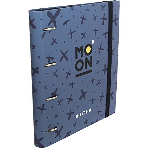 Grafoplás 88102430. Carpeta 4 Anillas Troqueladas, A4, Con Recambio 100 Hojas Cuadrícula 5x5, Borde Color, Separadores, Carpebook Colección Moon Azul