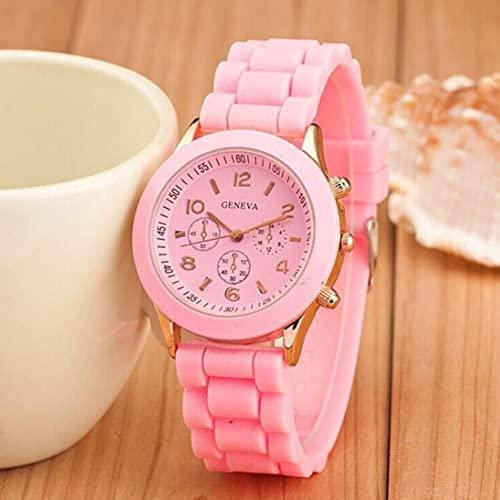 Tree-es-Life Relojes de Pulsera de Cuarzo con Banda de Silicona compacta, Reloj de Pulsera Universal, Relojes Deportivos portátiles para Mujeres, Reloj de Lujo para niña, Rosa