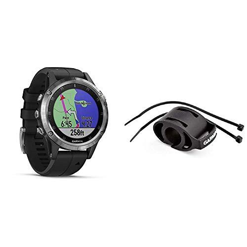 Garmin Fenix 5 Plus Schwarz Multisport-Smartwatch – Europakarte, Musikplayer, kontaktloses Bezahlen & Fahrradhalterung für Sportuhren - einfache Montage