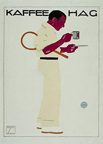 Ludwig Hohlwein Koffie Hag', 1913, 250gsm Zacht-Satijn Laagglans Reproductie A3 Poster