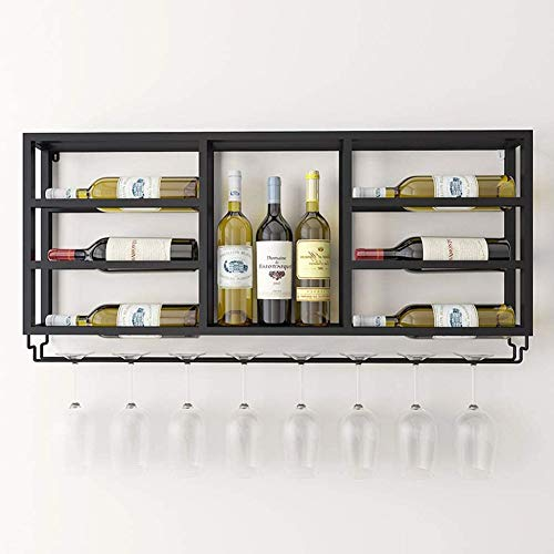 BFDMY Estante De Vino De La Pared Europea, Soportes para Vinos para Montaje De Vinos Sala De Estar Hotel Multilayer Wine Rack Simple Decorativo Decorativo Vino Gabinete De Vino,Schwarz