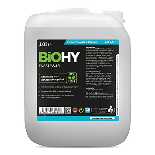 BiOHY Klarspüler (10l Kanister)   Ökologisches Hochkonzentrat   Geeignet für alle (gewerblichen) Spülmaschinen, für unschlagbaren Glanz...