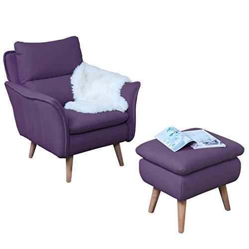 Einzelsessel Ohrensessel Lesesessel Relaxsessel Fernsehsessel Ruhesessel TV-Sessel Stuhl Relaxstuhl im Landhausstil Liege Sessel Retrostil Retrodesign in aubergine lila violett Eiche