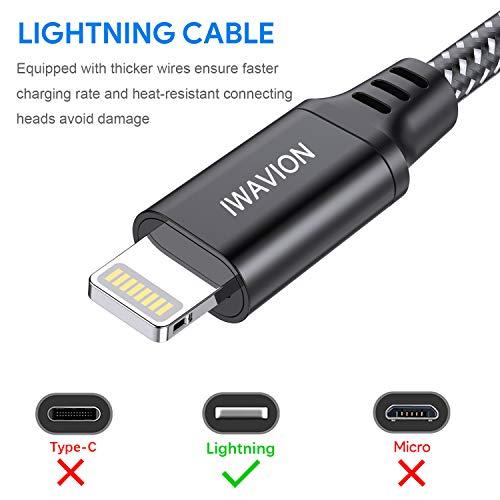 IWAVION iPhone Ladekabel Lightning Kabel, 4 Stück 1M Nylon Schnell USB Ladekabel&Datenkabel für Apple iPhone XS/XS Max/XR/X/8/8 Plus/7/7 Plus/6s/6s Plus/6/6 Plus/SE/5s,iPad Mini/Air/Pro,iPod(Schwarz)