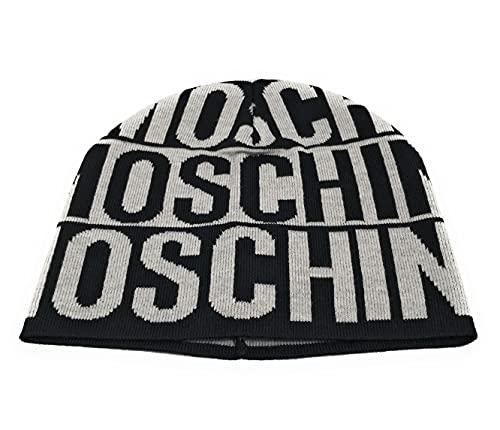 Moschino Gorro unisex Art.60067 de lana con logo Bands, negro/gris