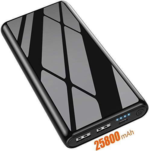 AOPAWA Powerbank 25800 mAh,Externer Akku [Das Neu Glasoberflächen Design] Hohe Kapazität Akkupack mit 2 USB Ports Tragbares Ladegerät mit 4 LED-Leuchten Power Pack Power Bank für Smartphones, Tablets