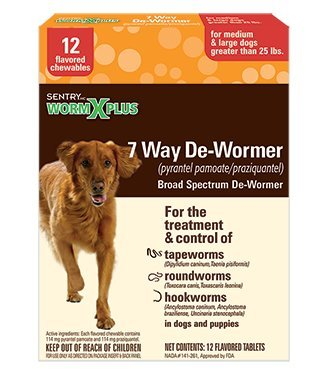 SENTRY Worm X Plus 7 Way DeWormer Large Dogs (12 count)