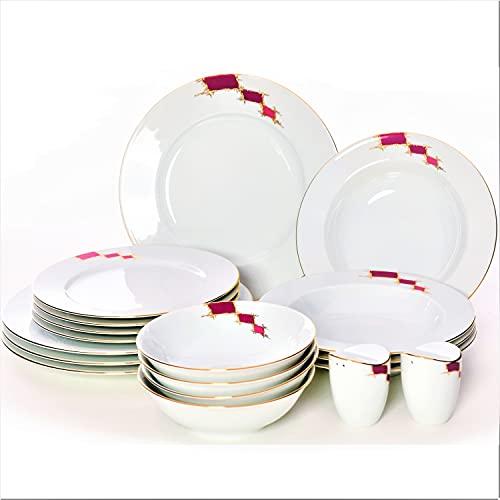 PHOE NIXX Serie Mia 18tlg, Porzellan Tafelservice mit 4 Speiseteller, 4 Suppenteller, 4 Dessertteller, 4 Müslischüsseln, Salz-&Pfefferstreuer, modern, bunt, Weiß-Rot-Gold, Geschirrset, Essgeschirr