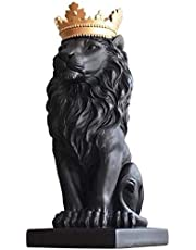 H&W 38cmH Lion King Statue, Nordic Style Home and Study Decoration, Collectible Figurines, Best Gift for The Man, Black (HH16-D1)