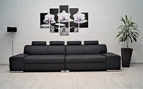 Quattro Meble Echtleder 4 Sitzer Sofa London 4z Breite 302cm mit Kopfstützen Ledersofa Echt Leder Couch große Farbauswahl !!!