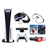 2021 Playstation Console and Playstation VR Bundle - PS5 Disk Version with Wireless Controller, PSVR Headset, Camera, Move Motion Controller, Iron Man Game and The Demo Games