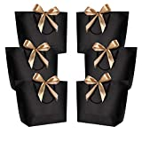 Gift Bags with Handles- WantGor 14x10x4inch Paper Party Favor Bag Bulk with Bow Ribbon for Birthday Wedding/Bridesmaid Celebration Present Classrooms Holiday(Matte Black, Large- 6 Pack)