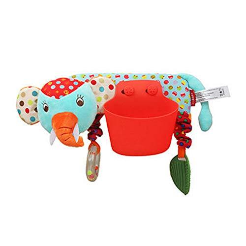 Leyeet Bolsillo de almacenamiento para cochecito de bebé, juguete de peluche con barra transversal colgante decoración para niños y niñas