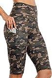 Anwell Mallas cortas para mujer con bolsillo para el móvil, color negro, pantalones de yoga de cintura alta Rodillera Camo. XL