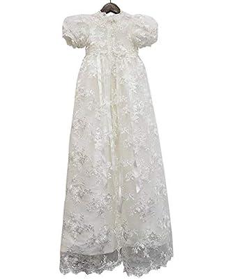 Abaowedding Lace Christening Gowns Baby Baptism Dress Newborn Baby Dress (18 M) White