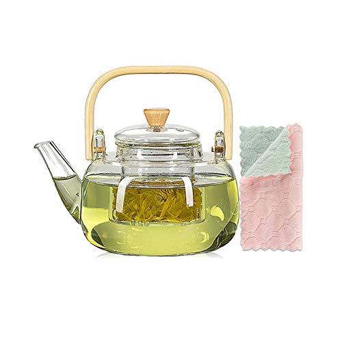 1000 ml Glas-Teekanne mit Glas-Ei, Teekanne mit Sieb für losen Tee, sicher auf dem Herd, Teekanne mit Bambusgriff