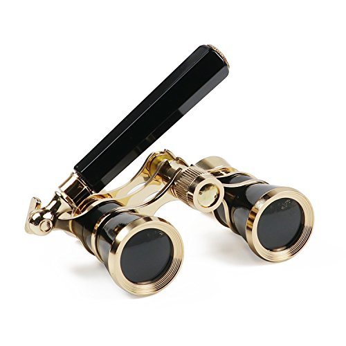 Kingscope 3X25 Vintage Opera Glasses Binoculars for Theater Musical Concert (Lorgnette, Black, with Handle)