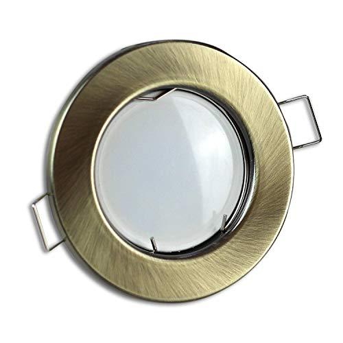 LED Einbaustrahler messing/gold rund 3 Watt warmweiß 230V – GU10 Einbauleuchten aus hochwertigem Aluminium – 55-60mm Bohrloch Einbau-Spot Decken-Leuchte