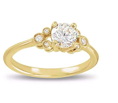 SLV Anillo de compromiso de Mickey Mouse para mujer con diamante de corte redondo transparente D/VVS1 chapado en oro amarillo de 14 quilates 925