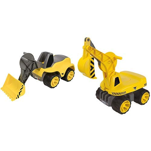 BIG 800055813 - Power-Worker Maxi Loader Kinderfahrzeug, Gelb &  800055811 - Power Worker Maxi-Digger, gelb
