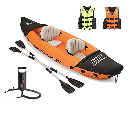 Flydem Inflatable Kayak,Set with Aluminum Oars and High Output Air Pump,2-Person