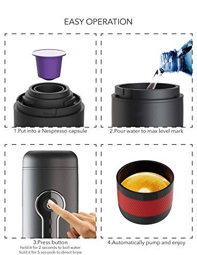 CONQUECO Portable Espresso Maker Travel Coffee Maker Portable Espresso Machine Suit for Travel, Outdoor, Home and Office (Black)