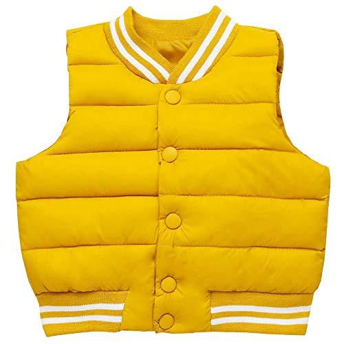 LSERVER Herbst und Winter Kinderbekleidung Einfarbig Daunenweste Warme Mode Jacke, Gelb, 92/98(Fabrikgröße: 100)