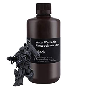 ELEGOO Water Washable 3D Printer Resin, Rapid Resin 405nm LCD UV-Curing Standard Photopolymer Resin for LCD 3D Printer Black 1000G