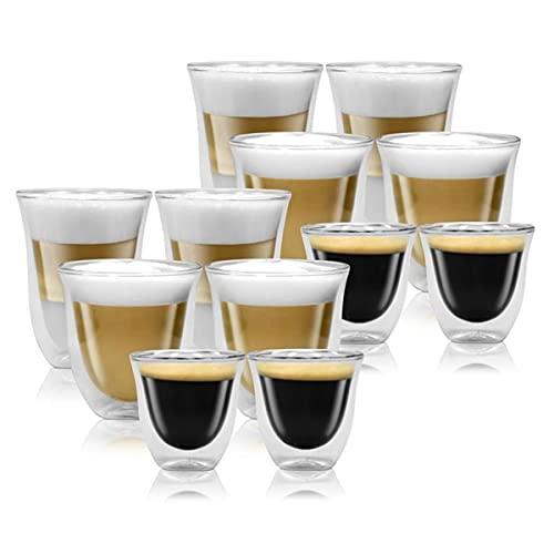 Delonghi Mega Set doppelwandige Thermogläser Espresso, Latte Macchiato und Cappuccino