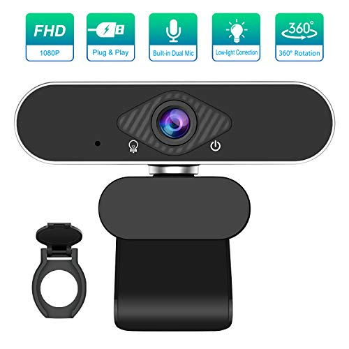 1080P Webcam with Microphone, PC Webcam Computer Video Camera for PC Desktop Laptop, HD Streaming Webcam USB Webcam Windows Mac Android Chrome Linux Compatible, with Extra Privacy Shutter