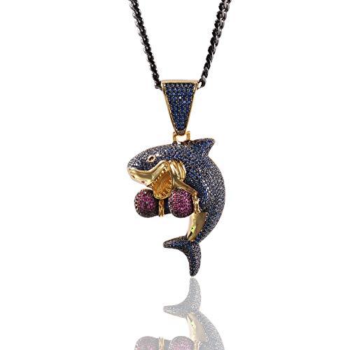 MoCa Jewelry Hip Hop Iced Out Cadena colgante de tiburón de boxeo chapado en oro de 18 quilates, collar creativo para hombres y mujeres (oro)