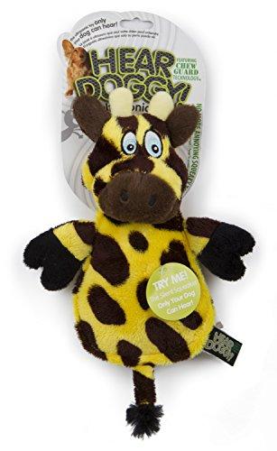 Hear Doggy Chew Guard Flats Toy, Giraffe, Yellow/Brown Ultrasonic Silent Squeaker Dog Toy, Large