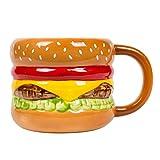 el & groove 3D Hamburger Cup in Porcellana di Alta qualità, Fast Food Cup, Idea Regalo per Gli Amanti della Carne e Grill, Cheeseburger