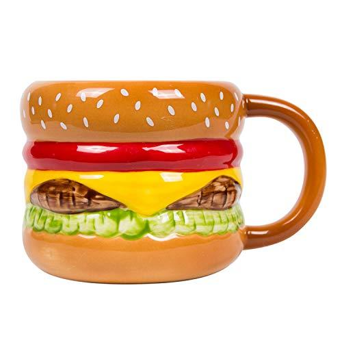 el & groove 3D Burger Tasse aus hochwertigem Porzellan, Fast Food Tasse mit 250ml Fassungsvermögen, Geschenkidee für Grill und Fleisch Fans, Geschenk für Männer, Cheeseburger Becher Geschenk Weihnacht