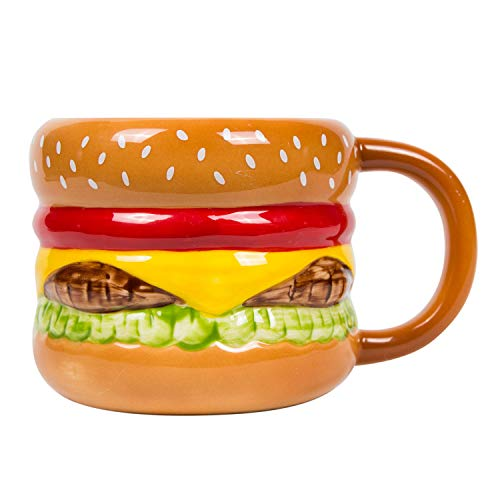 el & groove 3D burger mug made porcelain, fast food cup, gift idea for grill and meat lover, cheeseburger