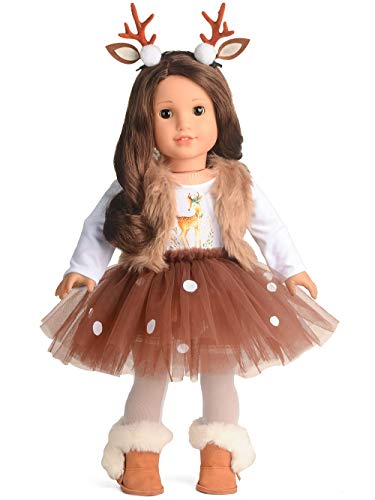 sweet dolly Doll Clothes Deer Costume Tutu Dress fits 18 Inch American Girl Doll
