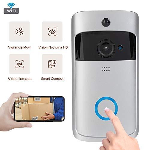 Timbre de Video inalámbrico, 1280 * 720p, Sistema de Seguridad Inteligente, cámara HD WiFi, visualización de Video en Tiempo Real / comunicación de Audio con cancelación ruidosa (Video Timbre)