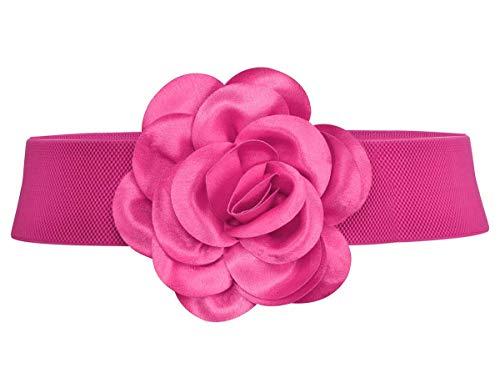 Cinturón de cintura elástico ancho de cintura de cintura de mujeres (L, rosa)