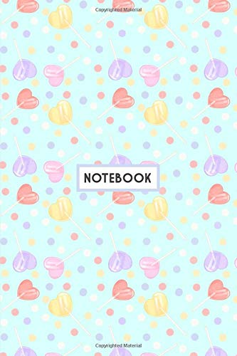"""Notebook: Kawaii Heart Shaped Red Purple Pink and Yellow Lollipops, Wide Ruled 110 pages (6.14"""" x 9.21"""")"""