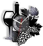 Wwbqcl Botella de Vino con Copa de Vino, racimo de UVA, Registro, Reloj de Pared, Bar en casa, decoración de la Bodega, Cocina, bodegón, Vinilo, álbum, Reloj