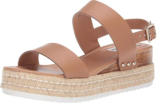 Steve Madden Women's Catia Wedge Sandal, Natural Leather, 6.5