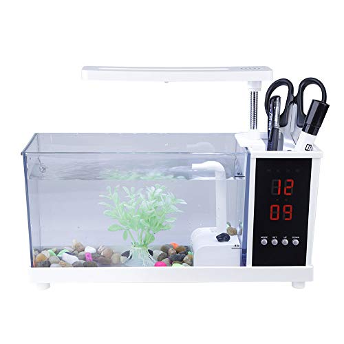 Garosa USB Mini Aquarium Multifunktional mit Led Pump Light Kalender Wecker Pen Container(Weiß)