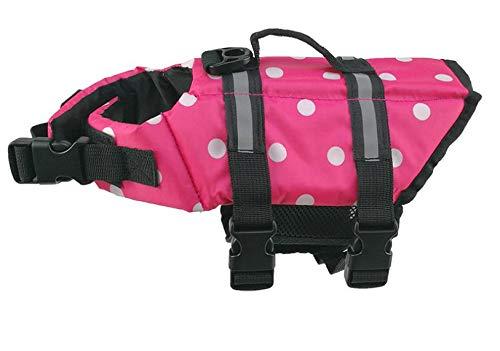 Yunjiadodo Hond Leven Jas Huisdier Levenslange Bewaarder Hond Drijvend Vest Gemakkelijk Fit Reflecterende Huisdier Zwemkleding Badpak met Verstelbare Riem, L: For 10-20kgs, Roze Stip