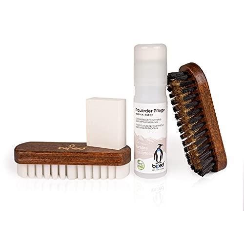 Die Schuhanzieher Kit d'entretien pour chaussures en daim - kit de nettoyage pour chaussures avec brosses pour l'entretien du cuir nubuck - et produits d'entretien pour raviver z2310