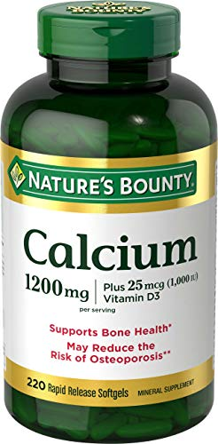 Calcium & Vitamin D3 by Nature's Bounty, Immune Support & Bone Health, 1200mg Calcium & 1000iu D3, 220 Softgels