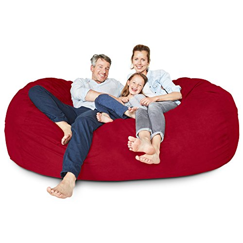 Lumaland Luxury 7-Foot Bean Bag Chair with Microsuede Cover Red, Machine Washable Big Size Sofa and Giant Lounger Furniture for Kids, Teens and Adults